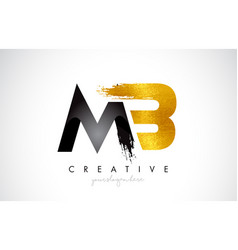 Mb letter design with brush stroke and modern 3d vector