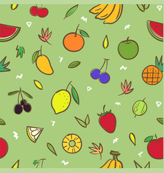 mix cute fruits seamless pattern background vector image