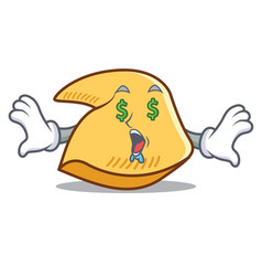 Money eye fortune cookie mascot cartoon vector