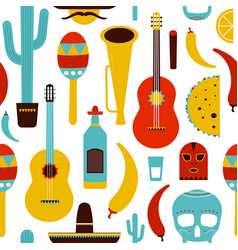 motley mexico seamless pattern with traditional vector image