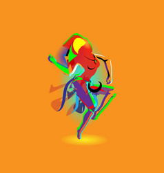 Multicolored abstraction with a dancing girl vector