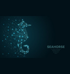 polygonal wireframe mesh futuristic with seahorse vector image