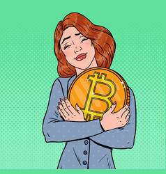 pop art business woman holding big bitcoin coin vector image