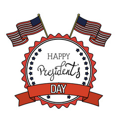 president day seal stamp with flags vector image