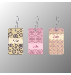 Price tags or labels with floral design vector image