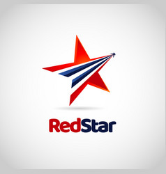 Red star with blue swoosh sign symbol logo vector