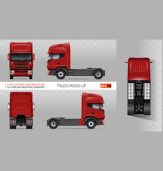 red truck mockup vector image