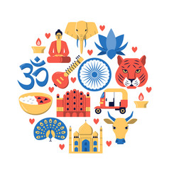 round banner with india national symbols in flat vector image