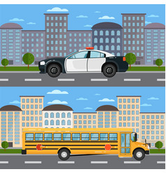 School bus and police car in urban landscape vector