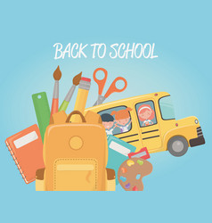 school bus with group kids and supplies vector image