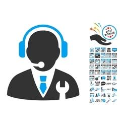 Service Manager Icon With 2017 Year Bonus Symbols vector