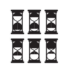 set black silhouettes hourglasses vector image