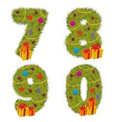 Set of numbers Christmas tree from 7 to 9 vector