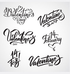 set of valentine day writings calligraphic texts vector image