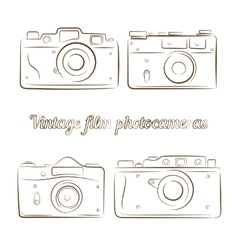 Set of vintage film photocameras vector