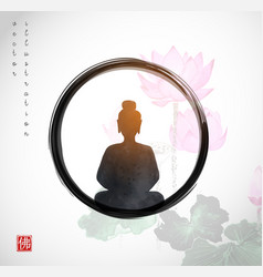 Silhouette meditating buddha in black enso zen vector