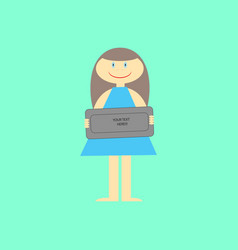 Smiling girl holding a table vector
