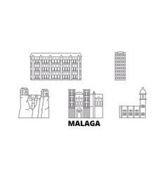 Spain malaga line travel skyline set spain vector
