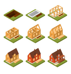 Stage construction house set isometric view vector