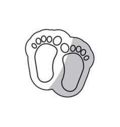 Sticker baby paint footprint standing in vector