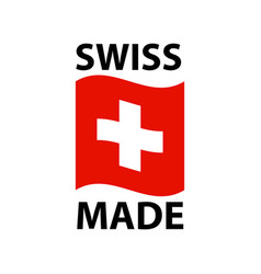 swiss made logo - icon with wavy flag of vector image