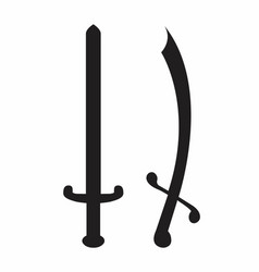 swords silhouettes vector image