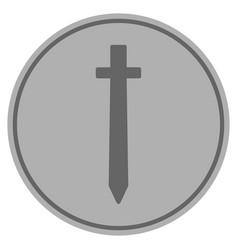Symbolic sword silver coin vector