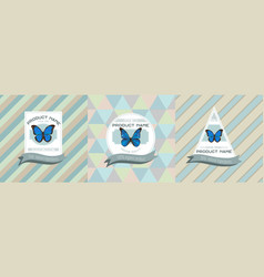 Three colored labels with morpho vector