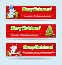 three horizontal banner set vector image