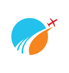 Travel globe abstract plane logo vector
