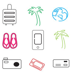 Travel icons in simple style vector