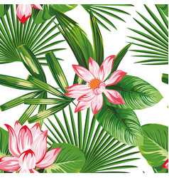 tropical seamless composition pink lotus green vector image