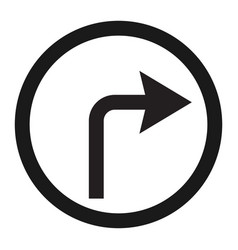 Turn right arrow sign line icon vector