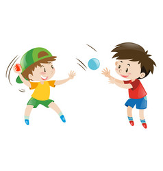 Two boys throwing and catching balls vector