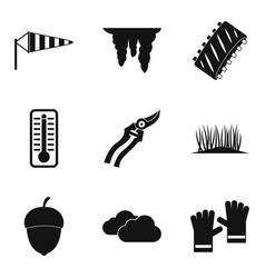 vegetal icons set simple style vector image