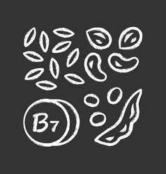 vitamin b7 chalk icon almonds and peanuts nuts vector image