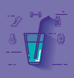 water glass with healthy lifestyle icons vector image