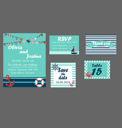Wedding invitation cards set nautical style vector