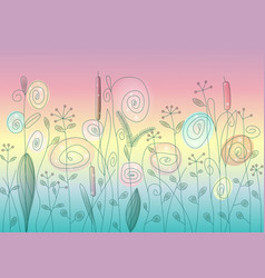 wild flowers and herbs abstract vector image