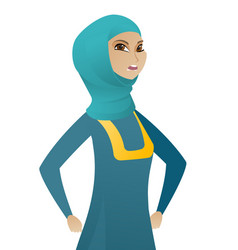 Young muslim angry business woman screaming vector