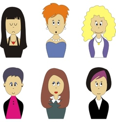 Female face avatar set 001 vector image