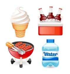 Summer Picnic Food Icons Set vector image