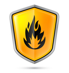 warning sign on shield indicating of flammable vector image