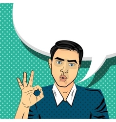 Attractive brunette man gesture hand ok vector image vector image