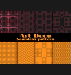 art deco seamless patterns set retro backgrounds vector image