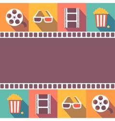 Cinema icons set Flat style signs vector image vector image