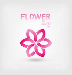 flower shop logo design pink color vector image vector image