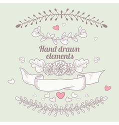 Hand drawn collection of floral design elements vector