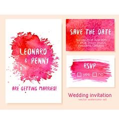 set of hand drawn watercolor wedding invitation vector image vector image