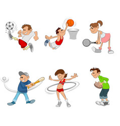 six children playing vector image